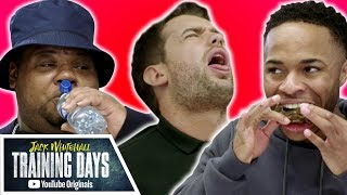 Download Raheem Sterling vs. Big Narstie in HOT WING CHALLENGE | Jack Whitehall: Training Days Video