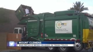 Download Man recalls being crushed in trash truck Video