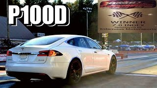 Download Tesla P100D Takes On Drag Car in the Racing Finals! Video