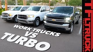 Download Work Truck Wars: 2019 Chevy Silverado 4-Cylinder Turbo vs Ford F150 vs Ram 1500 Review Video