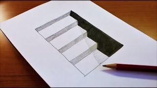 Download Very Easy!! How To Draw 3D Hole & Stairs for Kids - Anamorphic Illusion - 3D Trick Art on paper Video