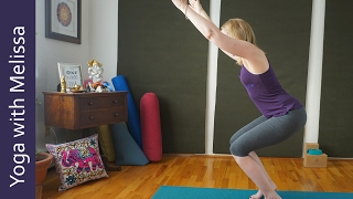 Download How to Balance in Chair Pose, Awkward Pose, Utkatasana Yoga with Melissa 369 Video