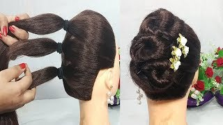 Download 5 Mins Hairstyle for wedding | Easy Hairstyles for long hair | updo hairstyle | simple hairstyle Video
