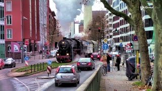 Download Steam locomotive in the center of Frankfurt / Dampflokomotive in der Innenstadt von Frankfurt Video