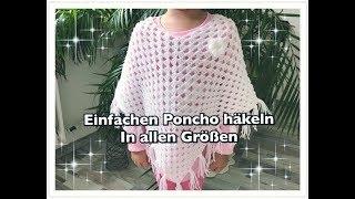 Download EINFACHEN Poncho häkeln / Granny Poncho häkeln / Kinderponcho häkeln Video
