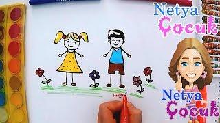 Download Çocuk Nasıl Çizilir? - Kız ve Erkek Çocuğu Çizimi - Netya Çocuk Kolay Resim Çizme Video
