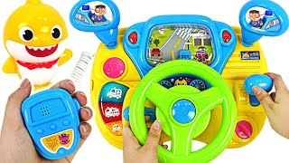 Download Go Baby Shark Drive a Police car! The villain bothers Tayo! Baby Shark Driving play #PinkyPopTOY Video