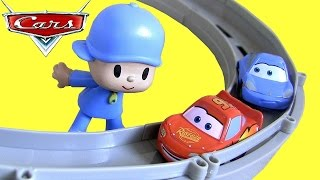 Download Pocoyo & Pixar Cars Race and Chase McQueen Sally Carrera Motorized Track Baby Toys by ToyCollector Video