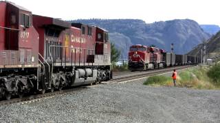 Download Canadian Pacific coal train cross at Kamloops Lake Video