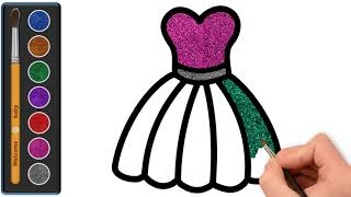Download تعليم رسم الفستان الجميل وتلوينه / drawing and coloring glitter pretty Dress for kids Video