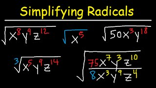 Download Simplifying Radicals With Variables, Exponents, Fractions, Cube Roots - Algebra Video