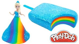 Download Play Doh Frozen! Make Rainbow Glitter Ice Cream & Elsa Dress with Play Dough Clay * RainbowLearning Video