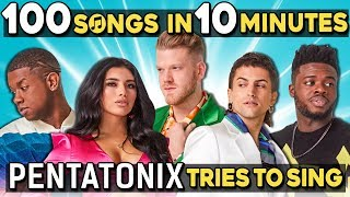 Download Pentatonix Tries To Sing 100 Pop Songs In 10 Minutes Challenge Video