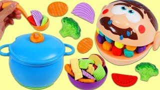 Download Feeding Sick Mr. Play Doh Head Homemade Vegetable Soup Using Kitchen Toys! Video