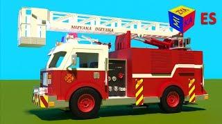 Download Juego de construcción: un camión de bomberos. Dibujos animados de camiones para niños en español. Video