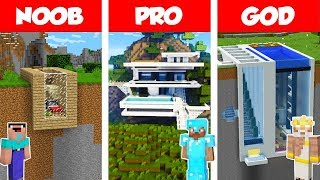 Download Minecraft NOOB vs PRO vs GOD: MODERN MOUNTAIN HOUSE BUILD CHALLENGE in Minecraft / Animation Video