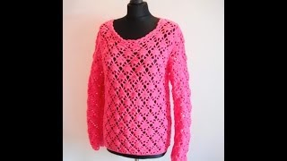 Download how to crochet pink pullover sweater by marifu6a video tutorial free pattern Video
