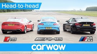 Download New Audi RS5 v BMW M4 v Mercedes-AMG C63S Drag and Rolling Race | Head2Head Video