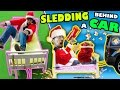 Download BED SLEDDING BEHIND A CAR + Unlimited POPCORN Life Hack w/ Nerf Gun (FUNnel Vision Donate Vlog/Skit) Video