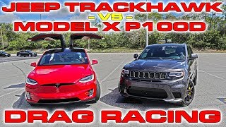 Download Tesla Model X P100D Ludicrous sets World Record vs Jeep Trackhawk Drag Racing 1/4 Mile Video