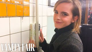 Download Emma Watson Hides Books Around the New York City Subway | Vanity Fair Video