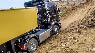 Download RC truck RESCUE! Scania 4x4 truck got stuck! Amazing tipper ACTION! Video