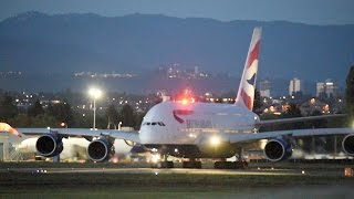 Download British Airways A380-841 [G-XLEH] Evening Takeoff from Vancouver (YVR) Video