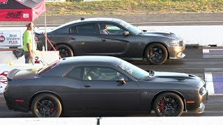 Download Wife vs husband - drag racing,Hellcat Charger vs Hellcat Challenger Video