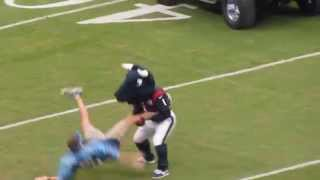 Download Texans mascot Toro whipping the Titan fan Video
