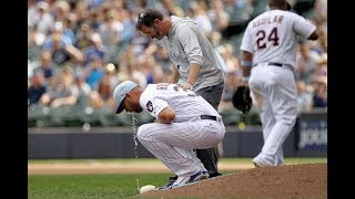 Download Brewers pitcher pukes twice on the mound during game against Phillies Video