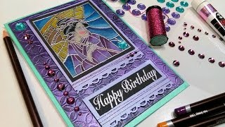 Download Sparkly Geisha Happy Birthday Card with 2 kinds of Embossing and Gelatos! Video