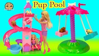 Download Barbie Doll Slide & Spin Pups Puppy Pool Water Play Playset - Cookieswirlc Video Video