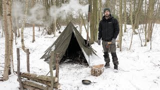 Download 3 Day Solo Winter Snow Camp - Bushcraft, Canvas Tent, Woodstove, Bowdrill Video