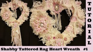 Download Heart Wreath, Heart Wreath, Wall hanging, lace Wreath, Shabby Chic Tutorial, tattered rag Diy 1 Video