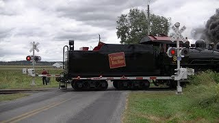 Download Vintage Steam Locomotive pulls train through Amish Country crossing Video