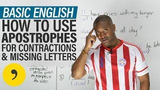 Download English for Beginners: APOSTROPHES for missing letters & contractions Video