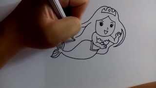 Download วาดการ์ตูนกันเถอะ สอนวาดการ์ตูน เจ้าหญิงเงือก ง่ายๆ หัดวาดตามได้เลย Video