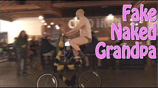 Download Fake Naked Grandpa Prank - Rides Tall Bike into the Bars of Small Towns - MorphSuit Video