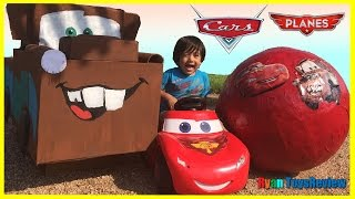 Download Disney Cars Toys GIANT EGG SURPRISE OPENING Lightning McQueen Tow Mater Kids Video Ryan ToysReview Video