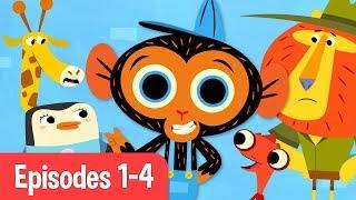 Download Mr Monkey, Monkey Mechanic | Giraffe, Chameleon, Penguin, and Lion! | Cartoons For Kids Video