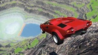 Download DRIVING LAMBOS OFF A CLIFF! Lamborghini Crash Testing! (BeamNG Drive Mods) Video