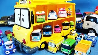 Download Robocar Poli School Bus Carrier mini car toys Video