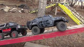 Download Backyard Trail Park - Two Guys Playing with RC 4x4 Trucks - Vaterra & Traxxas Video