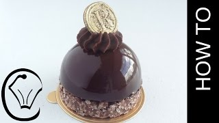 Download Shiny Mirror Glaze Mousse Dome with Crispy Chocolate Base and Ganache Topping Video
