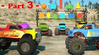 Download Learn Shapes And Race Monster Trucks - TOYS (Part 3) | Videos For Children Video