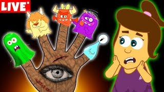 Download The Five Spooky Monster Finger Family | Halloween Songs for Kids by Annie and Ben | LIVE 🔴 Video