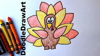 Download How To Draw a Cartoon Thanksgiving Turkey - Easy Cartoon Style Drawing Tutorial for Kids! Video