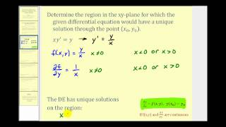Download Find the Region a First Order Differential Equation Has a Unique Solution at a Point - Part 1 Video