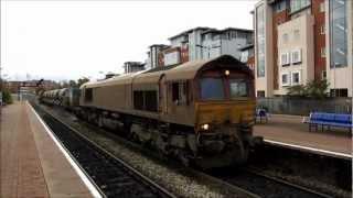 Download Railhead Treatment Train Action at Aylesbury including DMU 960301 & EWS Class 66's, 31/10/2012. Video