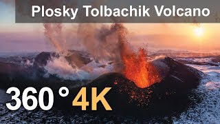 Download 360°, Eruption of Plosky Tolbachik Volcano, Kamchatka, Russia, 4K aerial video Video